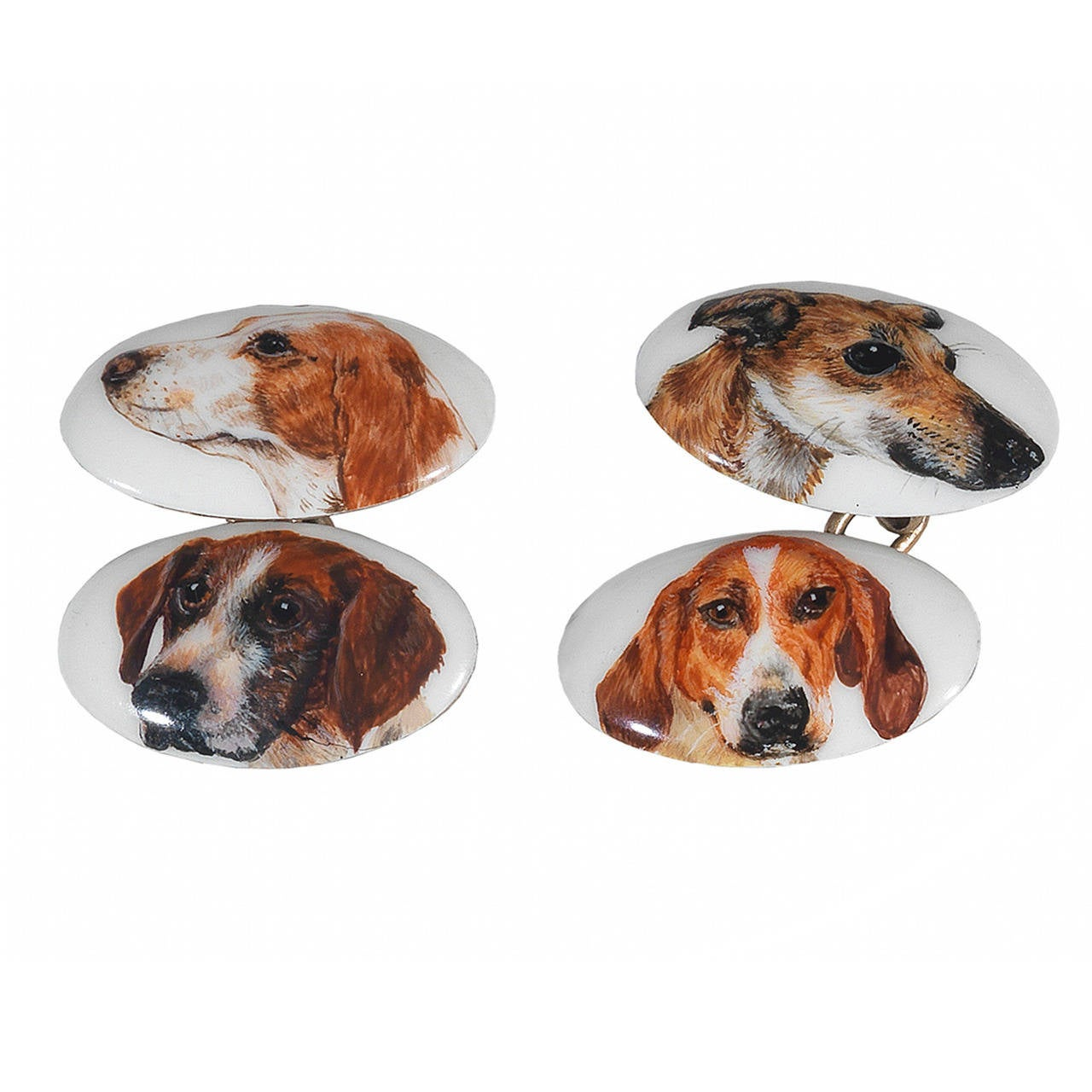 Enamel Gold Dog Cufflinks