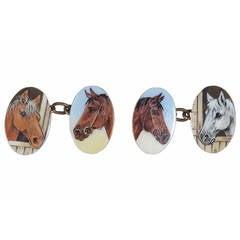 Enamel Gold Horse Cufflinks