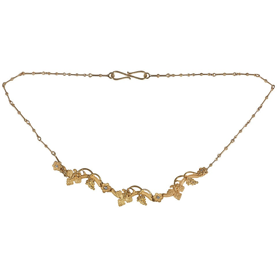 Diamond and Gold Archaeological Style Necklace