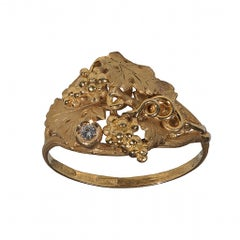 Diamond and Gold Archaeological Style Ring
