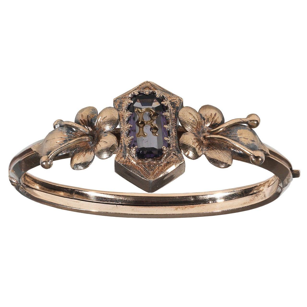 Antique Amethyst Gold Remember Bangle Bracelet