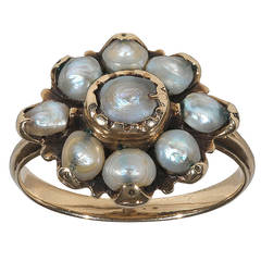 18th Century Natural Pearl Gold Fede Ring