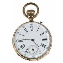 Mermod Geneve Yellow Gold Open Face Keyless Pocket Watch