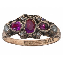 Victorian Pearl Ruby Gold Ring