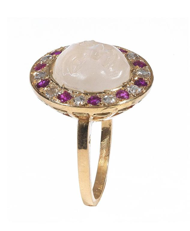 Carved Moonstone Ruby Diamond Gold Man in the Moon Ring 2
