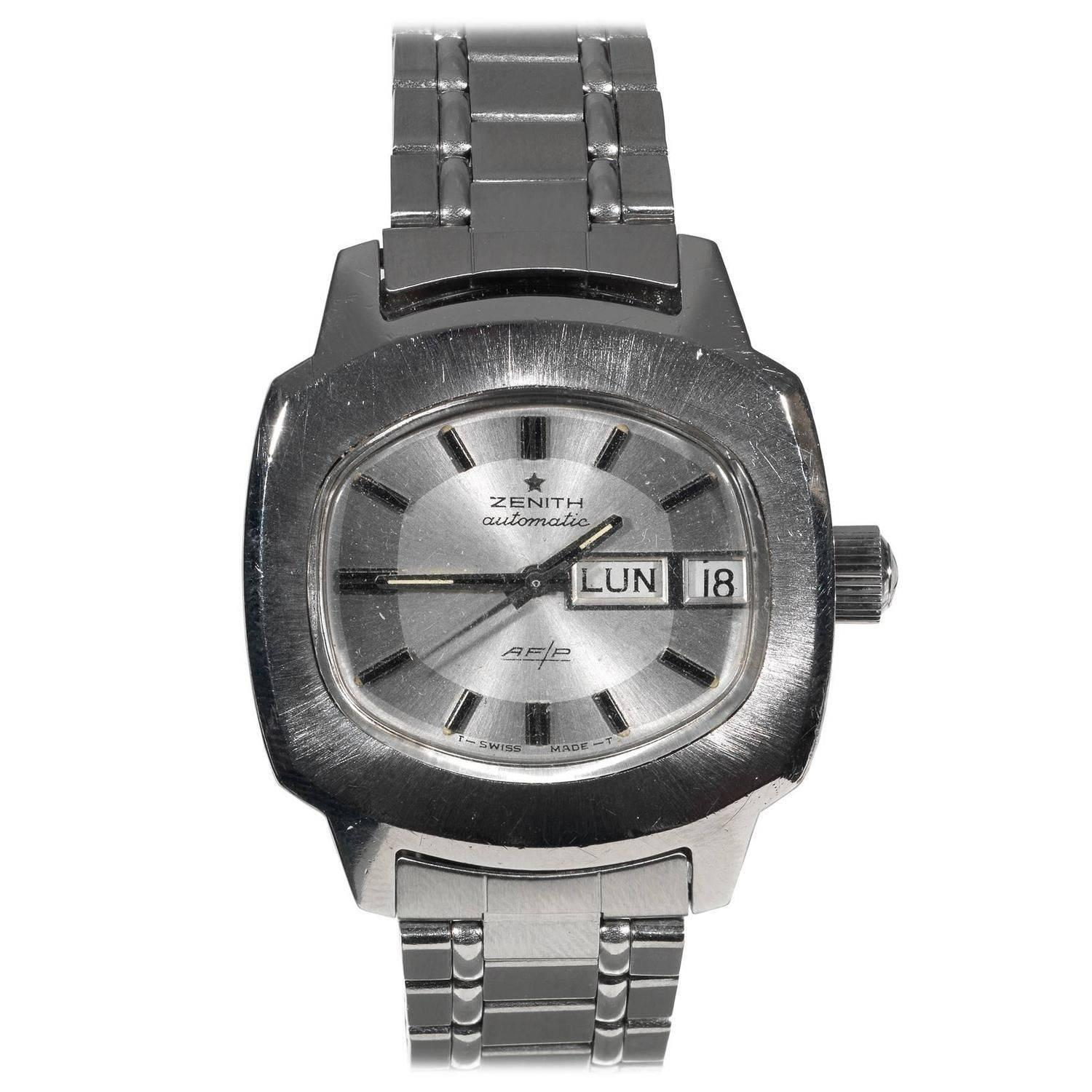 Zenith Stainless Steel AF/P Automatic Bracelet Wristwatch ...