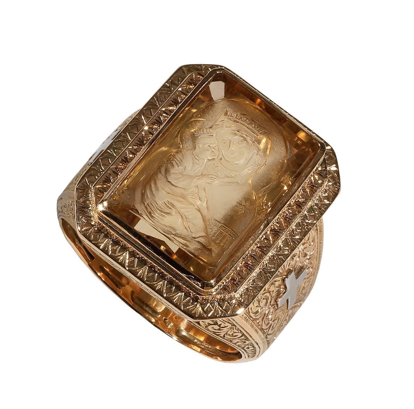 citrine intaglio three color gold bishop seal ring at 1stdibs