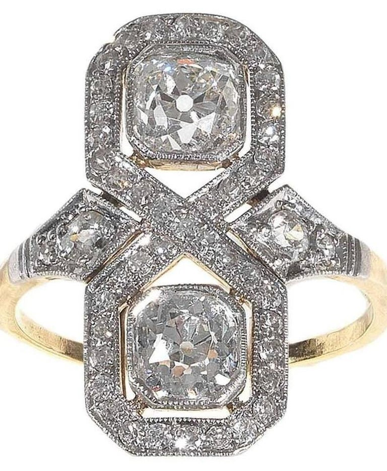 Old European Cut 2.00 Carat Art Deco Diamond Gold Platinum Engagement Ring For Sale