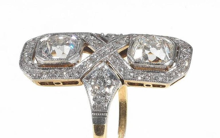 2.00 Carat Art Deco Diamond Gold Platinum Engagement Ring In Excellent Condition For Sale In Firenze, IT