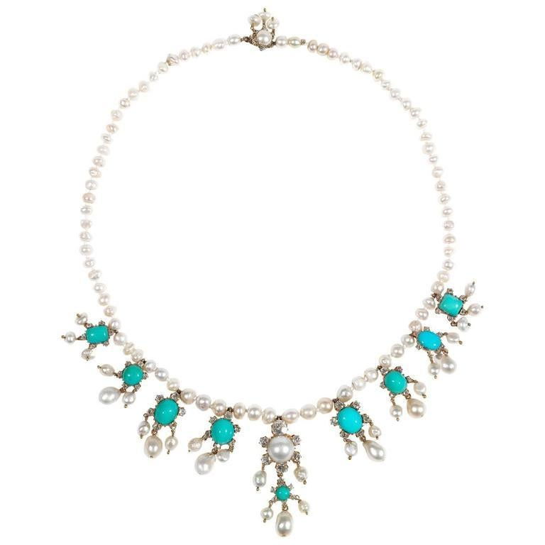 Women's Edwardian Natural Pearl Turquoise Diamond Gold Necklace For Sale