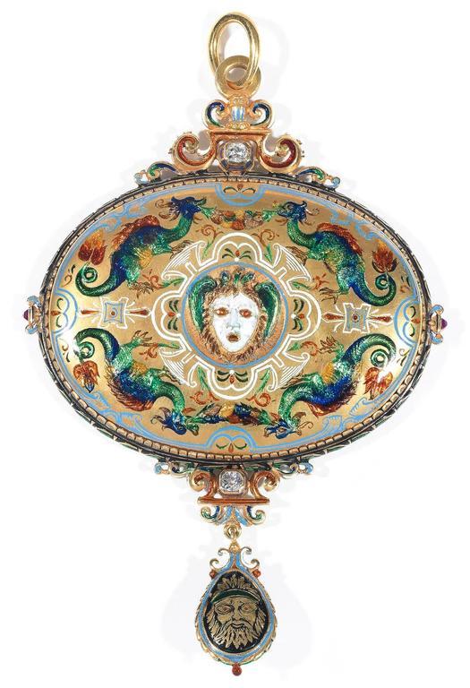 Antique Renaissance Revival Enamel Sapphire Ruby Diamond Cameo Pendant For Sale 1