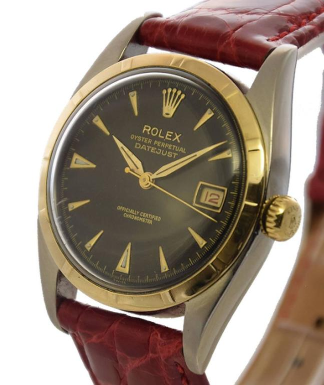 Rolex Yellow Gold Stainless Steel Datejust Big Bubbleback Wristwatch Ref 6075 3
