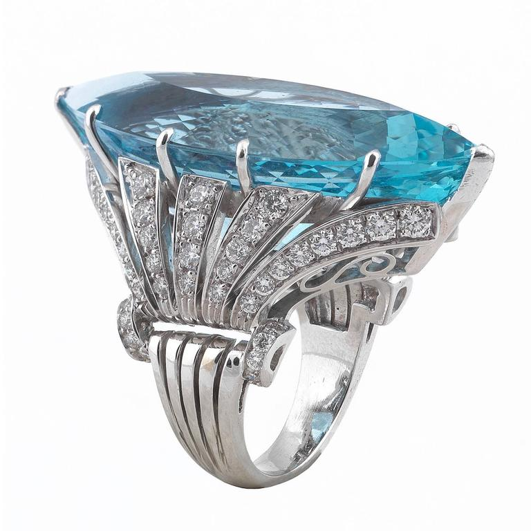 Marquise Cut 1950s Aquamarine Diamond White Gold Dress Ring For Sale