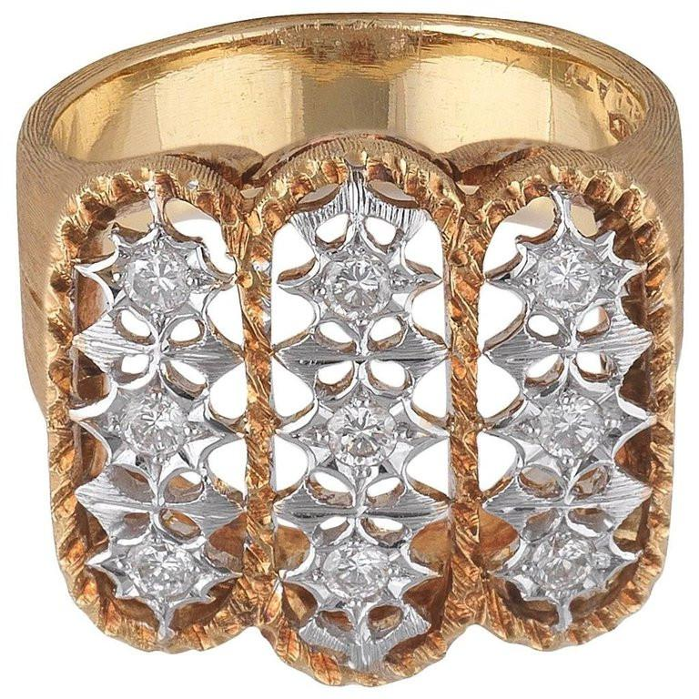 Contemporary Buccellati Satin Finished Yellow Gold and Diamond Cluster Ring For Sale