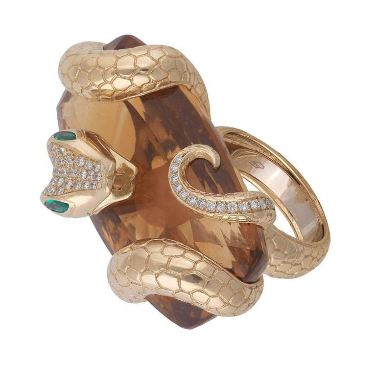 Contemporary Big Citrine Diamond Emerald Gold Snake Ring For Sale
