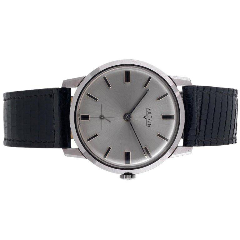 This vintage 1970's VULCAIN is for the watch lover who prefers a very slim and elegant vintage watch. This sleek stainless steel signed case measures 34mm. across, but looks larger due to the very narrow bezel. Original Box and paper