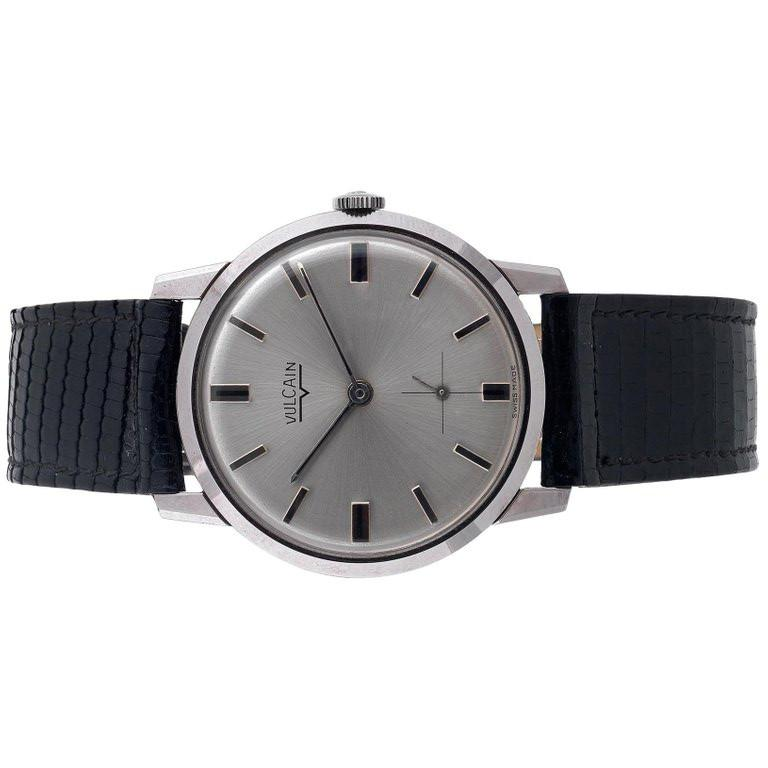 Retro Vulcain stainless steel Vintage Slim Wristwatch, 1970s For Sale