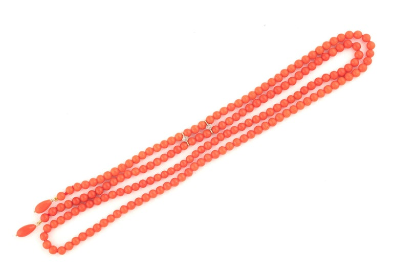 Retro Gold Coral Bead Necklace For Sale