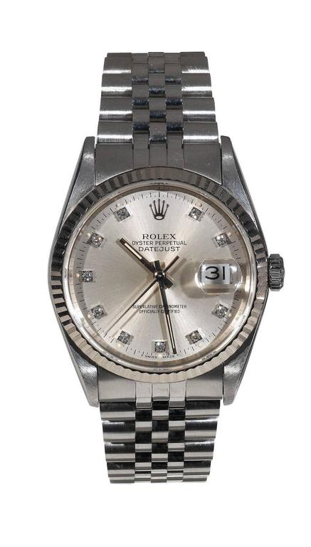Rolex Stainless Steel Diamond Oyster Perpetual Datejust Wristwatch Ref 16234 2