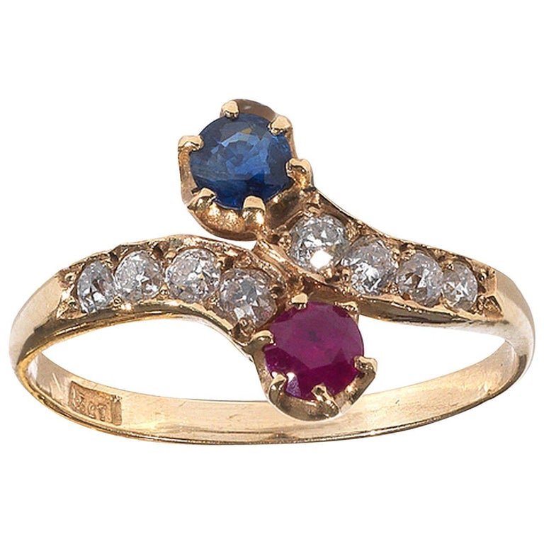 Round Cut Ruby Sapphire Diamond Yellow Gold Bypass Ring For Sale