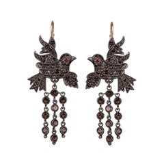 Gold Silver Smoky Quartz Garnet Chandelier Baroque Victorian Bird Earrings