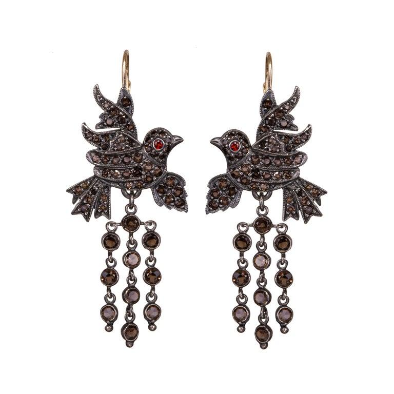 Gold Silver Smoky Quartz Garnet Chandelier Baroque Victorian Bird Earrings
