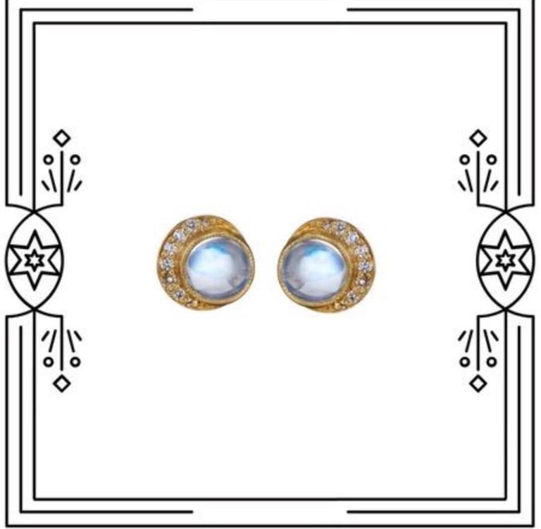 Artist Yellow gold diamonds moonstone full moon crescent stud earrings For Sale