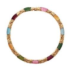 Multi-Gem Bulgari Gold Necklace by Bulgari