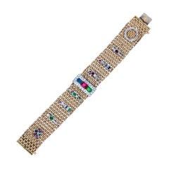Retro Gold and Gem-Set Charm Bracelet
