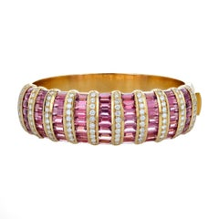 H. Stern Diamond, Pink Tourmaline, and Gold Bangle Bracelet