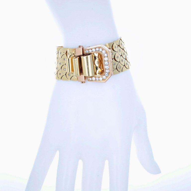 Retro 1940s Diamond and Gold Bracelet, French For Sale