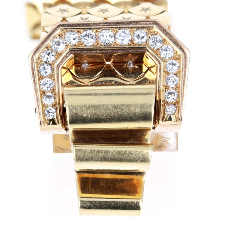 1940s Diamond and Gold Bracelet, French In Good Condition For Sale In New York, NY