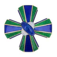 David Webb Diamond Enamel and Gold Maltese Cross Brooch