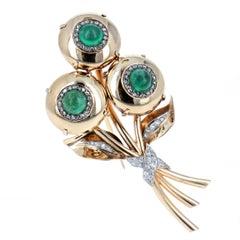 Cartier Emerald and Diamond Bouquet Brooch
