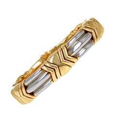 Vintage Bulgari Yellow Gold and Steel Bracelet