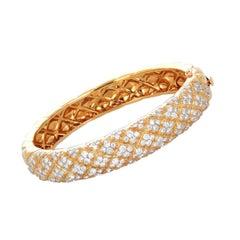 Van Cleef & Arpels Diamond and Gold Bangle Bracelet, French