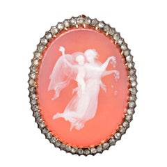 Antique 19th Century Agate and Diamond Cameo Brooch