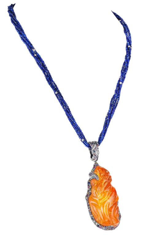 Naomi Sarna Fire Opal Multi-Color Diamond Sapphire Lapis Lazuli Necklace For Sale 5