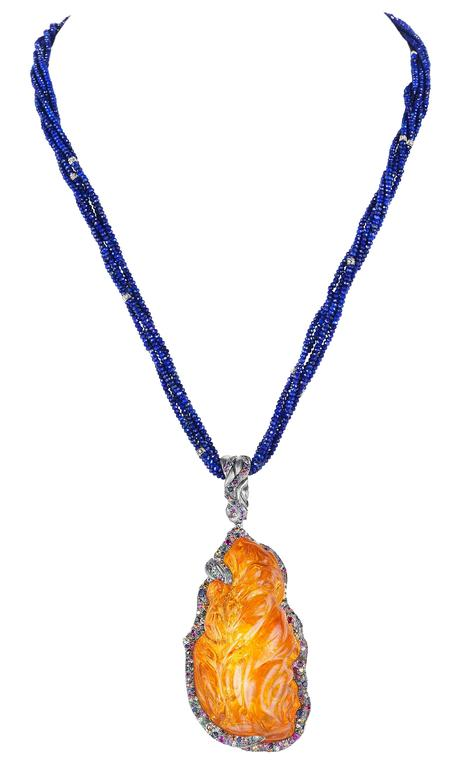 Naomi Sarna Fire Opal Multi-Color Diamond Sapphire Lapis Lazuli Necklace For Sale 4