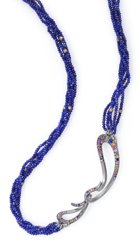 Women's Naomi Sarna Fire Opal Multi-Color Diamond Sapphire Lapis Lazuli Necklace For Sale
