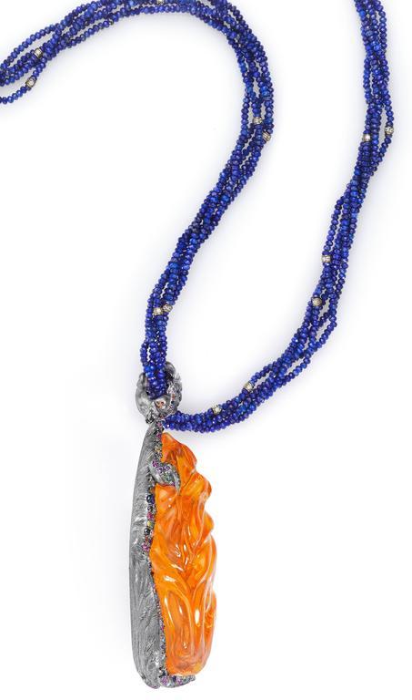 Naomi Sarna Fire Opal Multi-Color Diamond Sapphire Lapis Lazuli Necklace For Sale 2