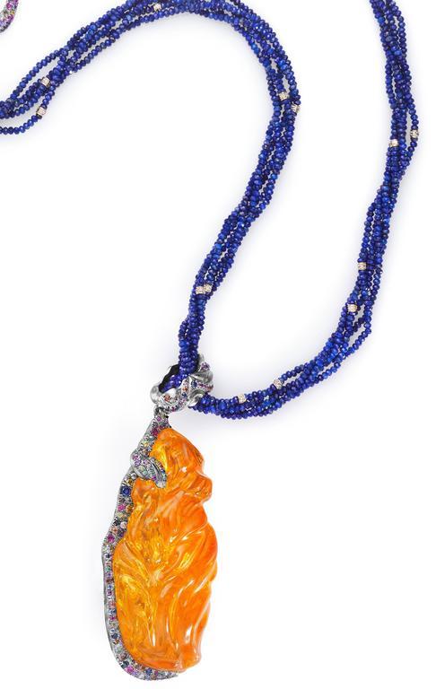 Naomi Sarna Fire Opal Multi-Color Diamond Sapphire Lapis Lazuli Necklace For Sale 1
