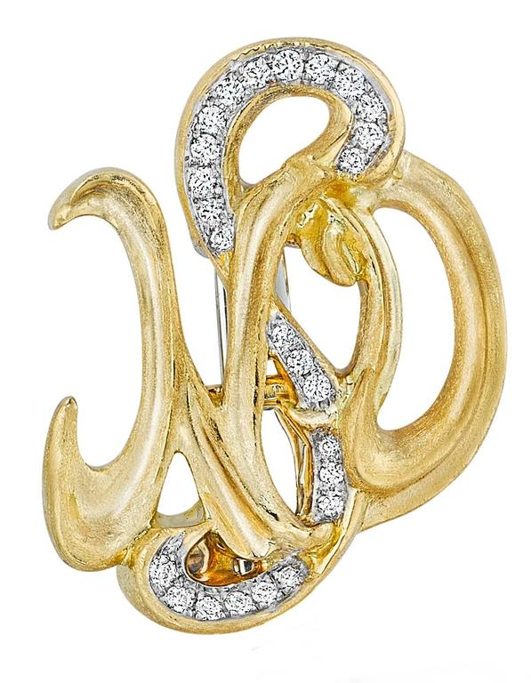 Naomi Sarna Brown Diamond Gold Earrings In As New Condition For Sale In New York, NY