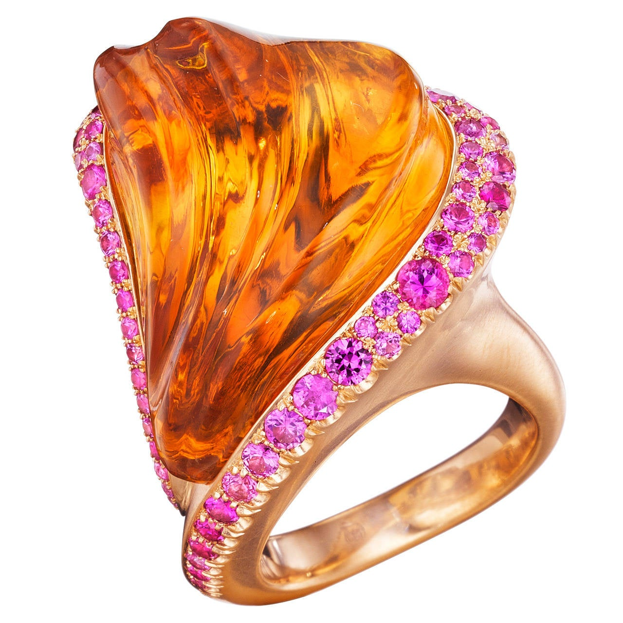 Naomi Sarna Hand-Carved Citrine Pink Sapphire Gold Ring For Sale