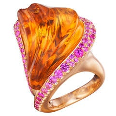 Naomi Sarna Hand-Carved Citrine Pink Sapphire Gold Ring