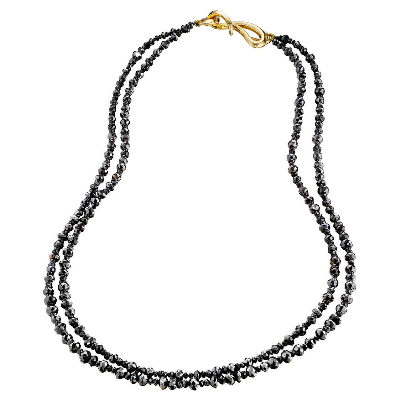 Naomi Sarna Two Strand Black Diamond Bead Necklace For Sale