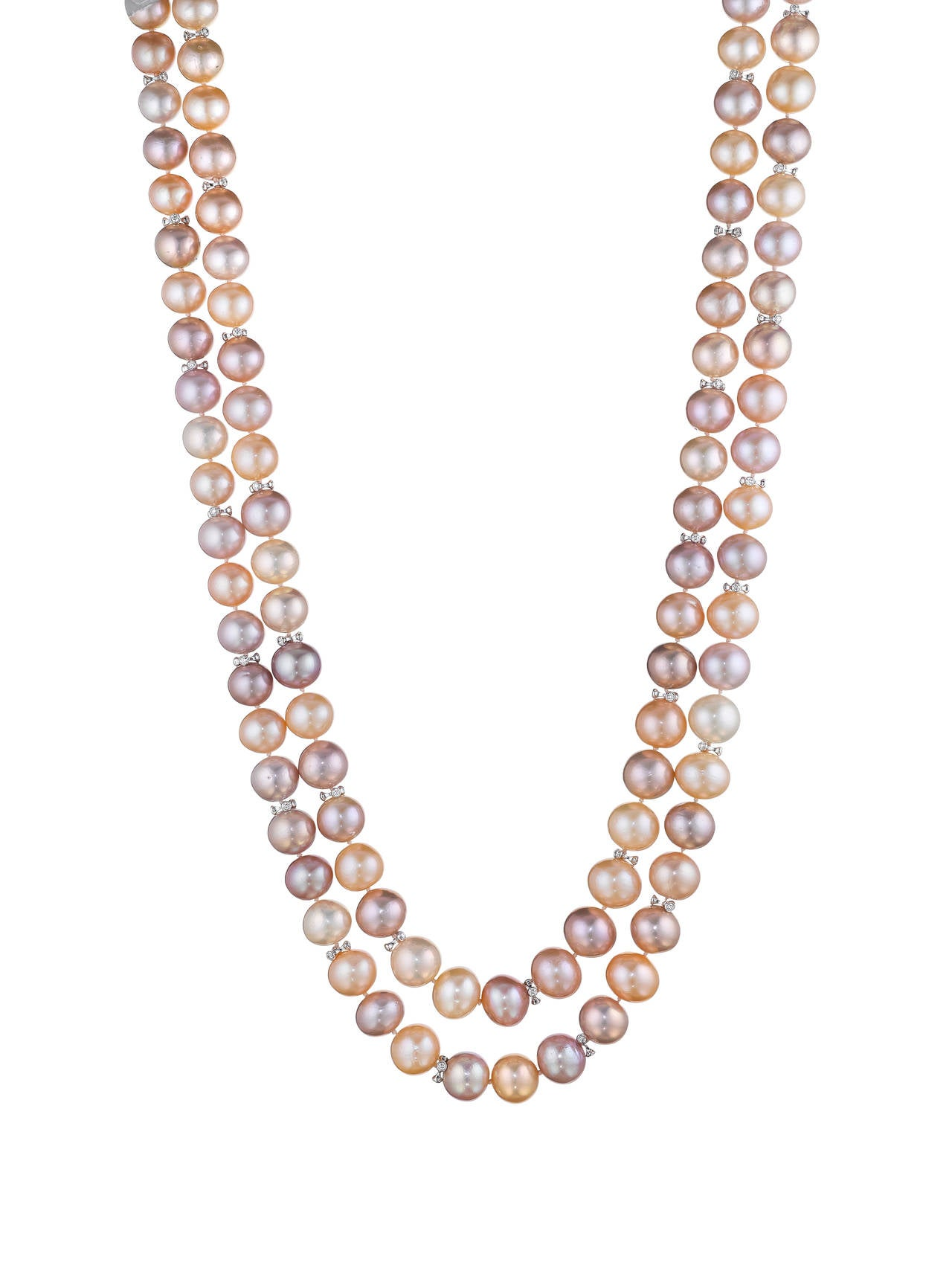 Naomi Sarna Double Strand Freshwater Pearl Diamond Gold Necklace In As new Condition For Sale In New York, NY
