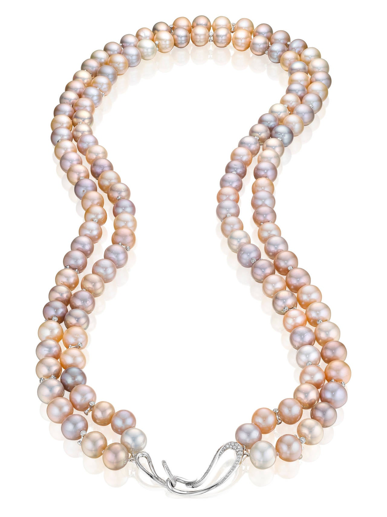 Naomi Sarna Double Strand Freshwater Pearl Diamond Gold Necklace 4