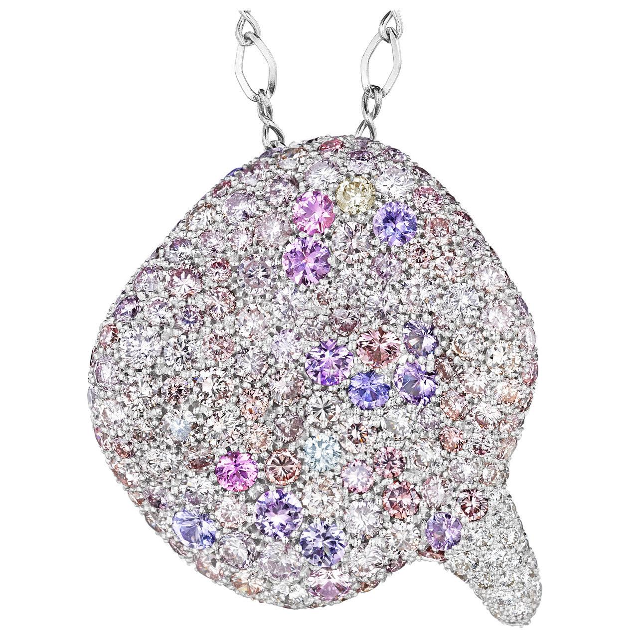 Naomi Sarna Sapphire Diamond Gold Winter Petal Pendant For Sale