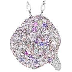 Naomi Sarna Sapphire Diamond Gold Winter Petal Pendant